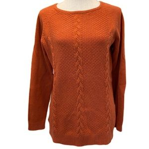 Cyrus Orange Sweater Long Sleeve Crew Neck Medium